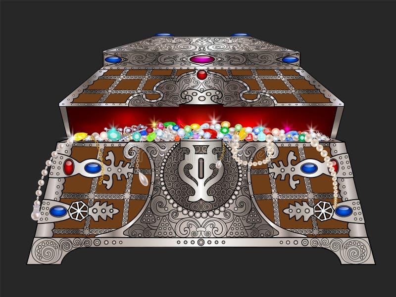 Κασετίνα με τα κοσμήματα διανυσματική απεικόνιση
