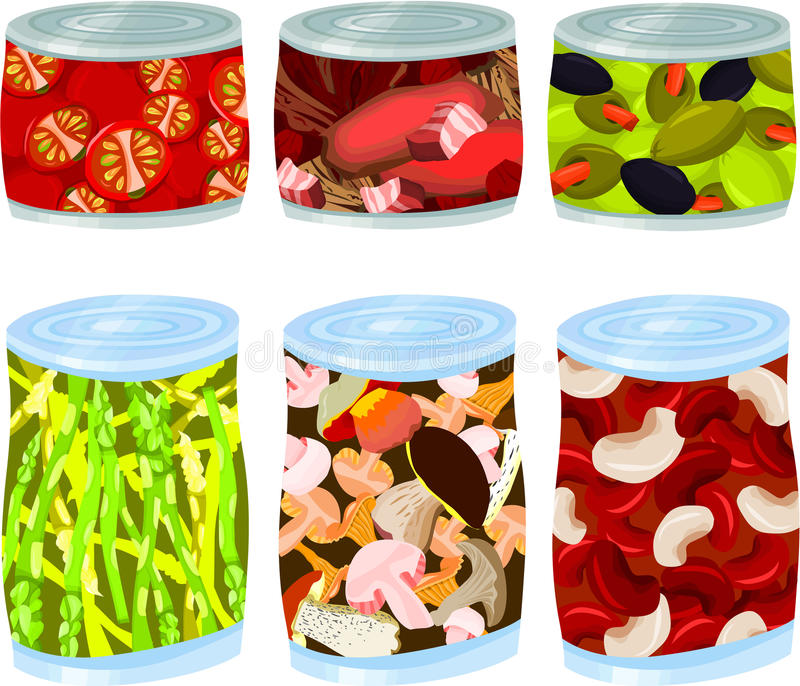 κασσίτεροι τροφίμων απεικόνιση αποθεμάτων
