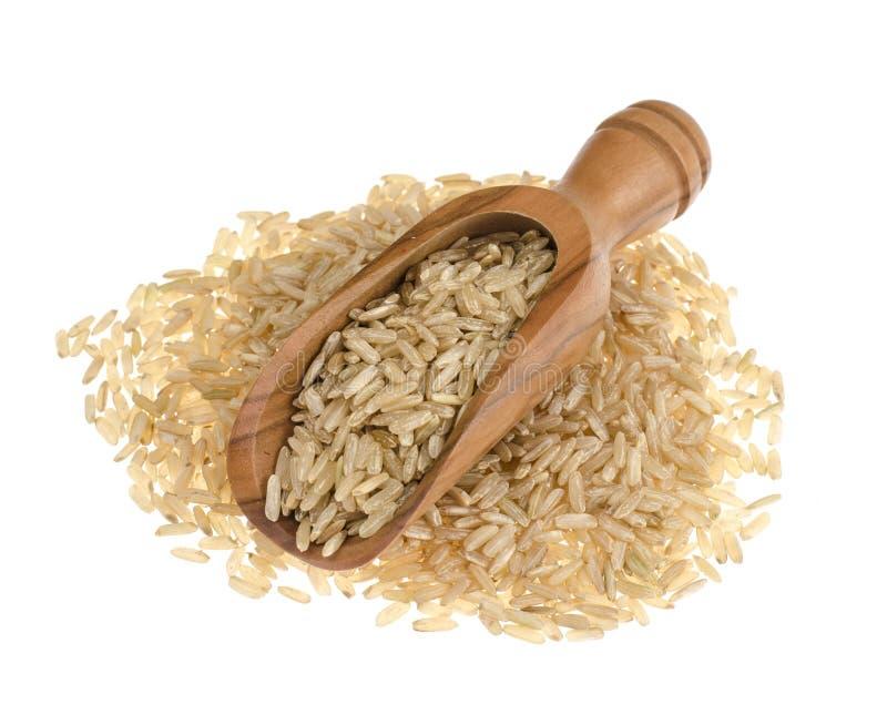 Καστανό ρύζι σε ξύλινη κουκούλα απομονωμένο σε λευκό φόντο, υγιεινό φαγητό στοκ εικόνες