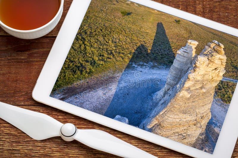 Καστλ Ροκ στο λιβάδι του Κάνσας - εναέρια άποψη στοκ εικόνες με δικαίωμα ελεύθερης χρήσης