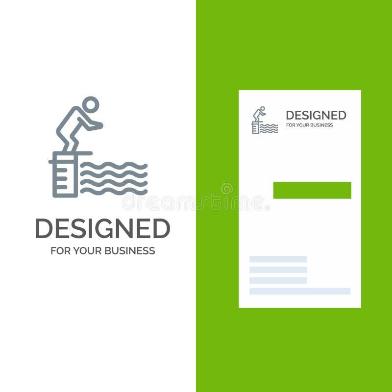 Κατάδυση, άλμα, πλατφόρμα, λίμνη, σχέδιο αθλητικών γκρίζο λογότυπων και πρότυπο επαγγελματικών καρτών ελεύθερη απεικόνιση δικαιώματος