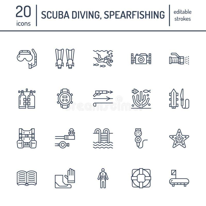 Κατάδυση σκαφάνδρων, κολυμπώντας με αναπνευτήρα εικονίδια γραμμών Ο εξοπλισμός Spearfishing, μάσκα, σωλήνας, βατραχοπέδιλα, κολυμ απεικόνιση αποθεμάτων