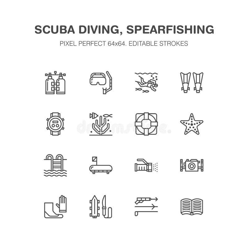 Κατάδυση σκαφάνδρων, κολυμπώντας με αναπνευτήρα εικονίδια γραμμών Εξοπλισμός Spearfishing ελεύθερη απεικόνιση δικαιώματος