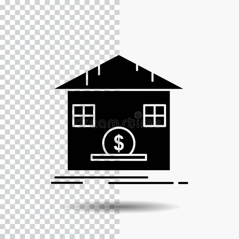 Κατάθεση, χρηματοκιβώτιο, αποταμίευση, επιστροφή ποσού, εικονίδιο Glyph τραπεζών στο διαφανές υπόβαθρο r ελεύθερη απεικόνιση δικαιώματος