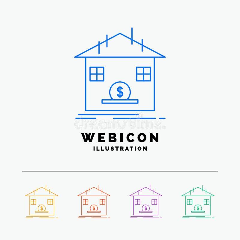 Κατάθεση, χρηματοκιβώτιο, αποταμίευση, επιστροφή ποσού, τράπεζα 5 πρότυπο εικονιδίων Ιστού γραμμών χρώματος που απομονώνεται στο  διανυσματική απεικόνιση