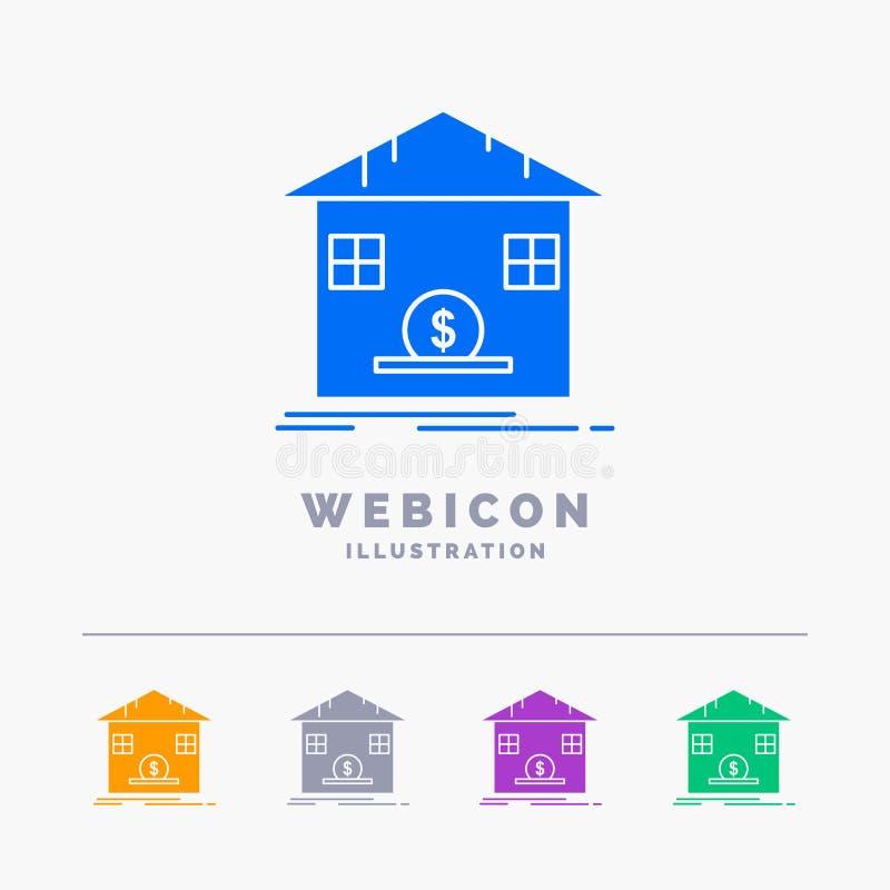 Κατάθεση, χρηματοκιβώτιο, αποταμίευση, επιστροφή ποσού, τράπεζα 5 πρότυπο εικονιδίων Ιστού Glyph χρώματος που απομονώνεται στο λε διανυσματική απεικόνιση