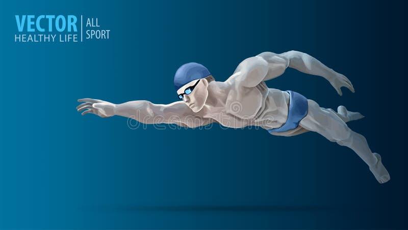 Κατάλληλη κατάρτιση κολυμβητών στην πισίνα Επαγγελματικός αρσενικός κολυμβητής μέσα στην πισίνα Κτύπημα πεταλούδων Ένα άτομο βουτ διανυσματική απεικόνιση