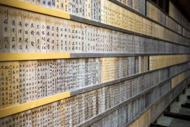 Κατάλογος ονομάτων χορηγών για τη λάρνακα/το ναό στοκ φωτογραφία με δικαίωμα ελεύθερης χρήσης