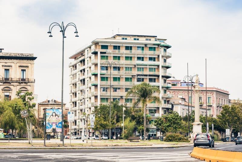 Κατάνια, Σικελία †«στις 16 Αυγούστου 2018: όμορφη εικονική παράσταση πόλης της Ιταλίας, ιστορική οδός στοκ εικόνες