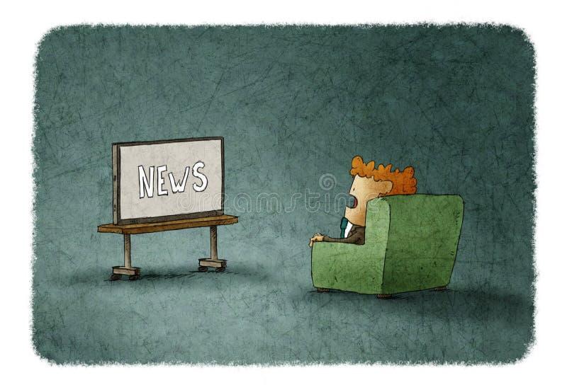Κατάπληκτο άτομο που προσέχει τις ειδήσεις στη TV διανυσματική απεικόνιση