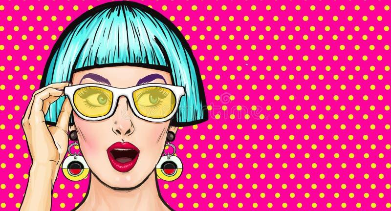 Κατάπληκτο λαϊκό κορίτσι τέχνης στα γυαλιά Πρόσκληση κόμματος κουνέλι δώρων καρτών γενεθλίων Κωμική γυναίκα κορίτσι προκλητικό διανυσματική απεικόνιση