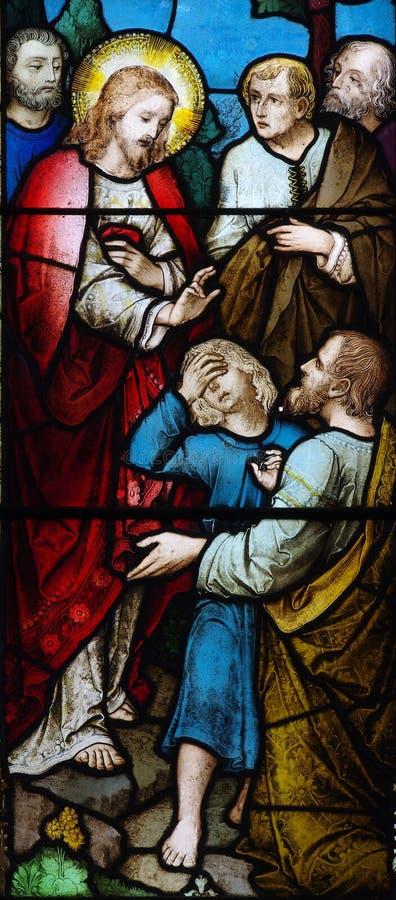 Κατάπληξη λεκιασμένου του ο Ιησούς γυαλιού στοκ φωτογραφία