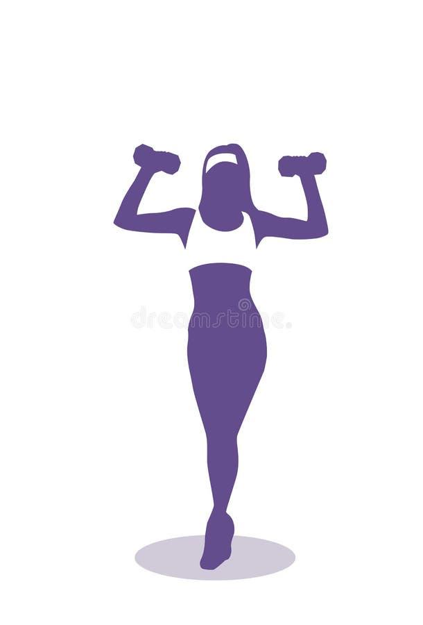 Κατάρτιση γυναικών σκιαγραφιών με τη θηλυκή ικανότητα άσκησης βαρών και την αεροβική έννοια διανυσματική απεικόνιση