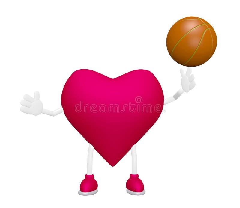 Κατάρτιση καρδιών με την αθλητική έννοια υγείας καρδιών καλαθοσφαίρισης ελεύθερη απεικόνιση δικαιώματος