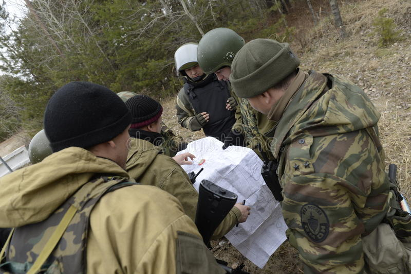 Κατάρτιση της ρωσικής αστυνομίας δυνάμεις ειδικές swat στοκ εικόνα
