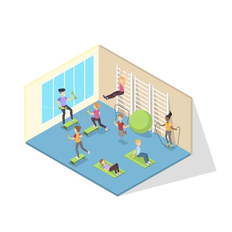 Κατάρτιση Chldren στη μεγάλη σχολική γυμναστική διανυσματική απεικόνιση