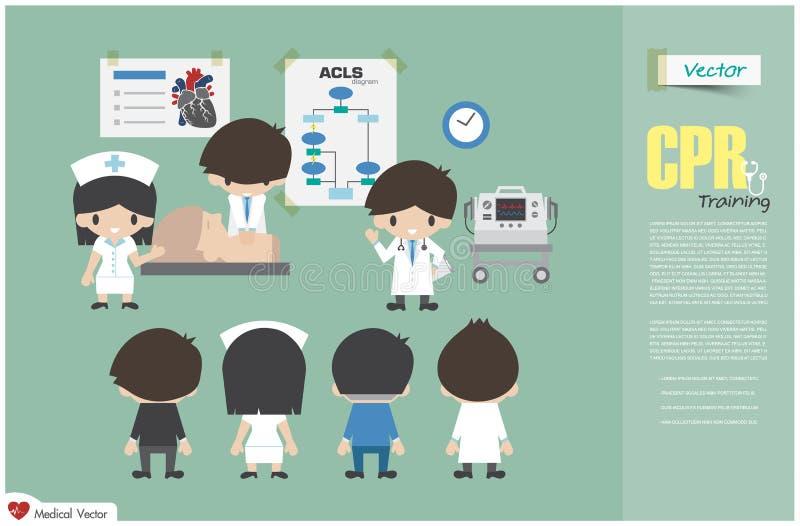 Κατάρτιση CPR Η ιατρική ομάδα διδάσκει για την καρδιοπνευμονική νεκρανάσταση στο νοσοκομείο διάνυσμα Επίπεδο σχέδιο διανυσματική απεικόνιση