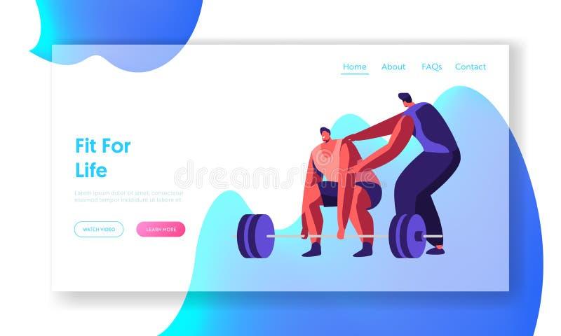 Κατάρτιση Powerlifter αθλητικών τύπων στη γυμναστική με το λεωφορείο Αρσενικός χαρακτήρας Sportswear Workout με το βάρος Ασκήσεις διανυσματική απεικόνιση