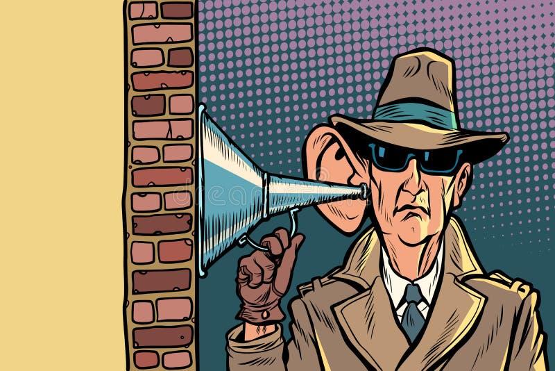 Κατάσκοπος ή μυστικός πράκτορας του κράτους, της υποκλοπής τηλεφωνικών συνδιαλέξεων και της επιτήρησης απεικόνιση αποθεμάτων