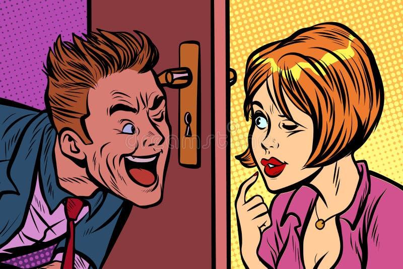 Κατάσκοπος ανδρών και γυναικών ο ένας στον άλλο μέσω της κλειδαρότρυπας απεικόνιση αποθεμάτων