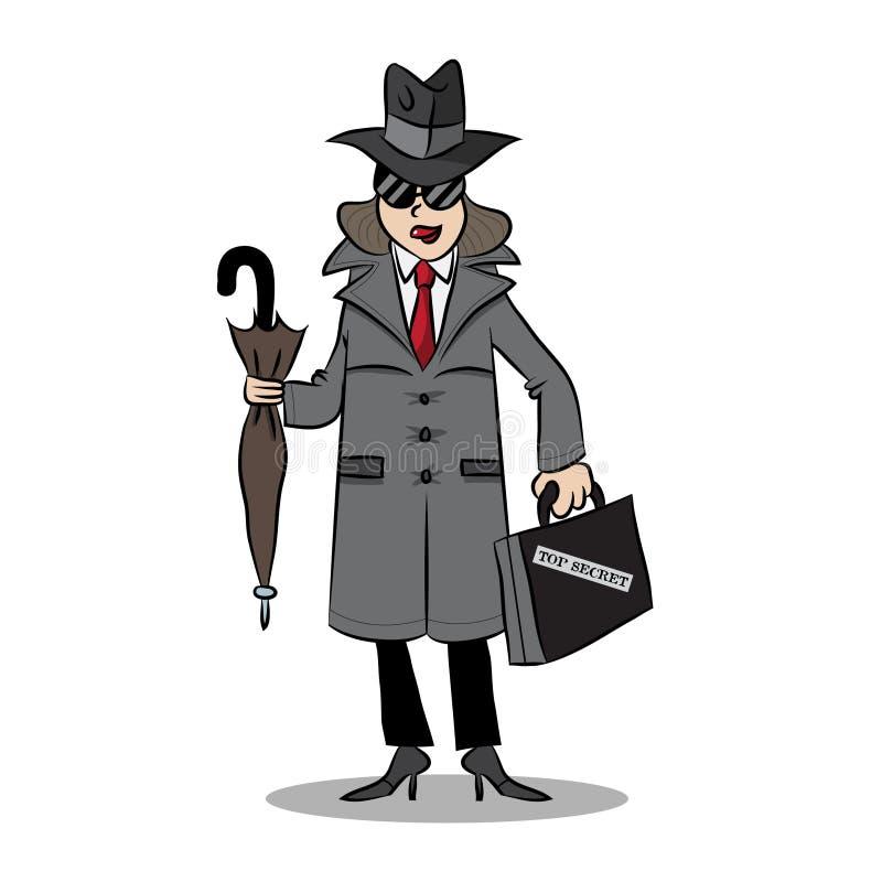 Κατάσκοπος γυναικών σε μια αποστολή διανυσματική απεικόνιση