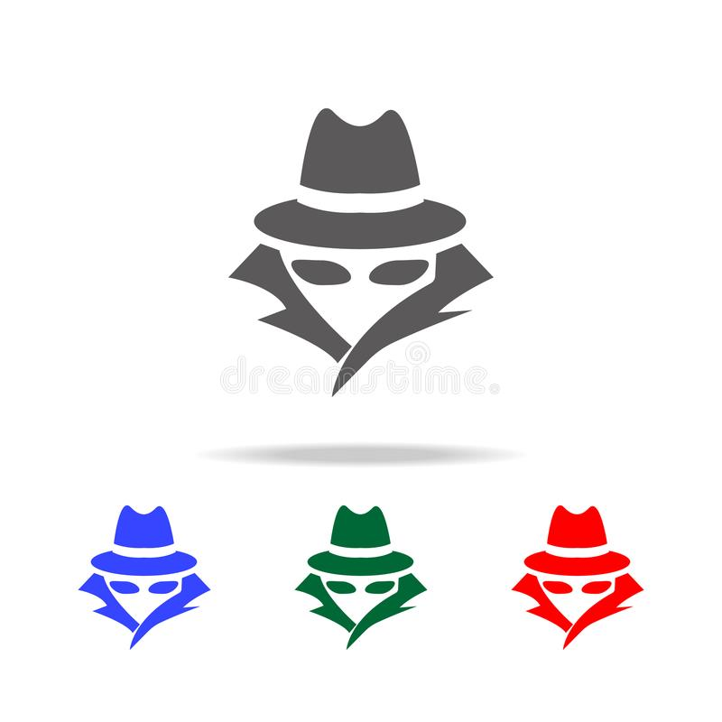 Κατάσκοπος, εικονίδιο πρακτόρων Στοιχεία των πολυ χρωματισμένων εικονιδίων ασφάλειας cyber Γραφικό εικονίδιο σχεδίου εξαιρετικής  διανυσματική απεικόνιση