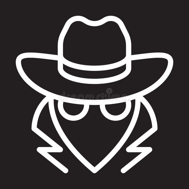 Κατάσκοπος, εικονίδιο γραμμών πρακτόρων, άσπρο σημάδι περιλήψεων, διανυσματική απεικόνιση απεικόνιση αποθεμάτων