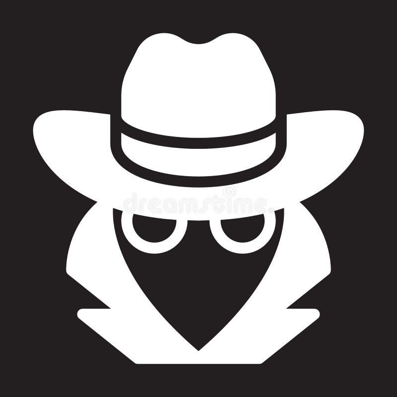 Κατάσκοπος, εικονίδιο πρακτόρων, διανυσματική απεικόνιση απεικόνιση αποθεμάτων