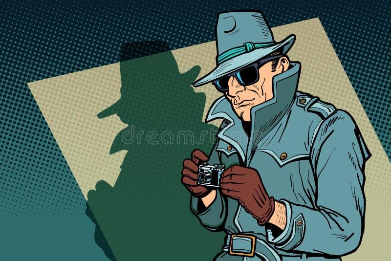 Κατάσκοπος ιδιωτικών αστυνομικών, σκιά διανυσματική απεικόνιση