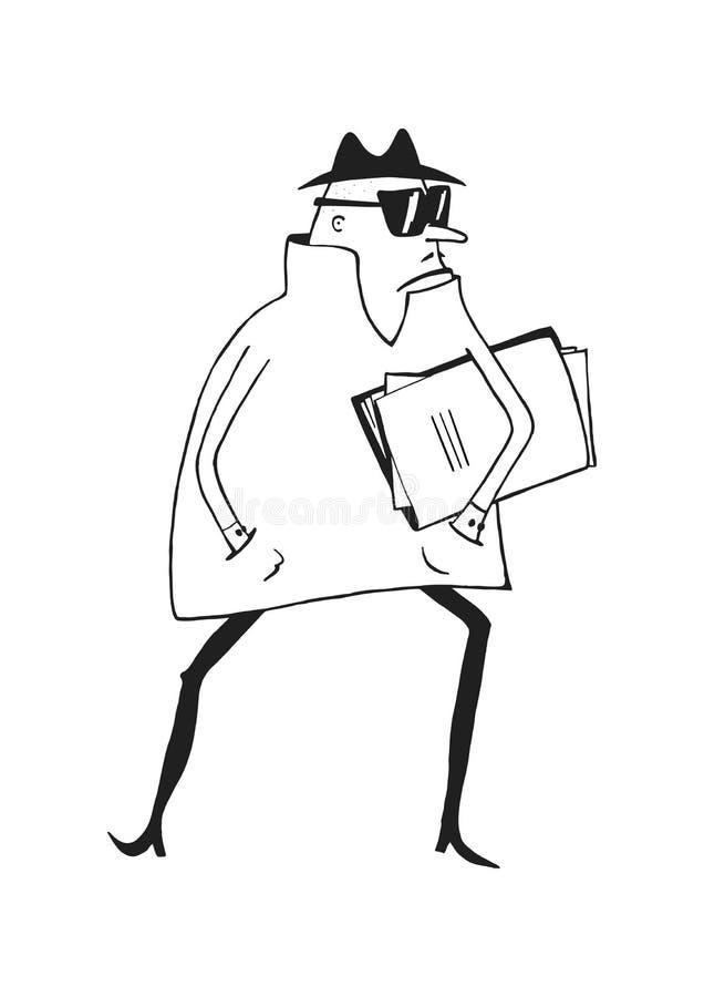 Κατάσκοπος κινούμενων σχεδίων διανυσματική απεικόνιση