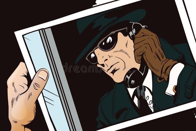 Κατάσκοπος με το παλαιό τηλέφωνο πορτοκαλί απόθεμα απεικόνισης ανασκόπησης φωτεινό απεικόνιση αποθεμάτων
