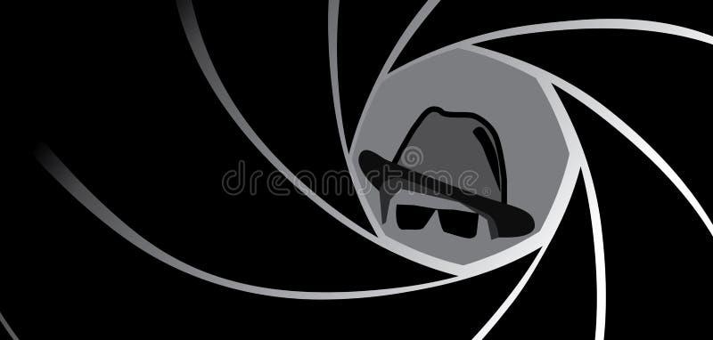 Κατάσκοπος, πράκτορας, γκάγκστερ ή ιδιωτικός αστυνομικός στο καπέλο fedora ελεύθερη απεικόνιση δικαιώματος