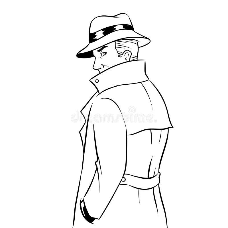 Κατάσκοπος στο διάνυσμα χρωματισμού αδιάβροχων και καπέλων διανυσματική απεικόνιση
