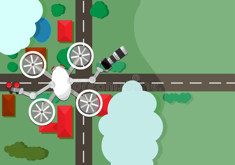 Κατάσκοπος Quadrocopter ελεύθερη απεικόνιση δικαιώματος