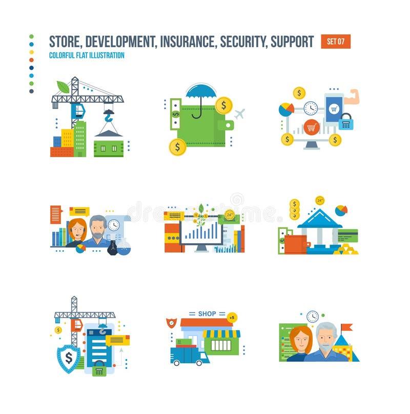 Κατάστημα, ανάπτυξη, χρηματοδότηση, επικοινωνία, ομαδική εργασία, επένδυση, αποταμίευση, ασφάλεια, προστασία, υποστήριξη διανυσματική απεικόνιση