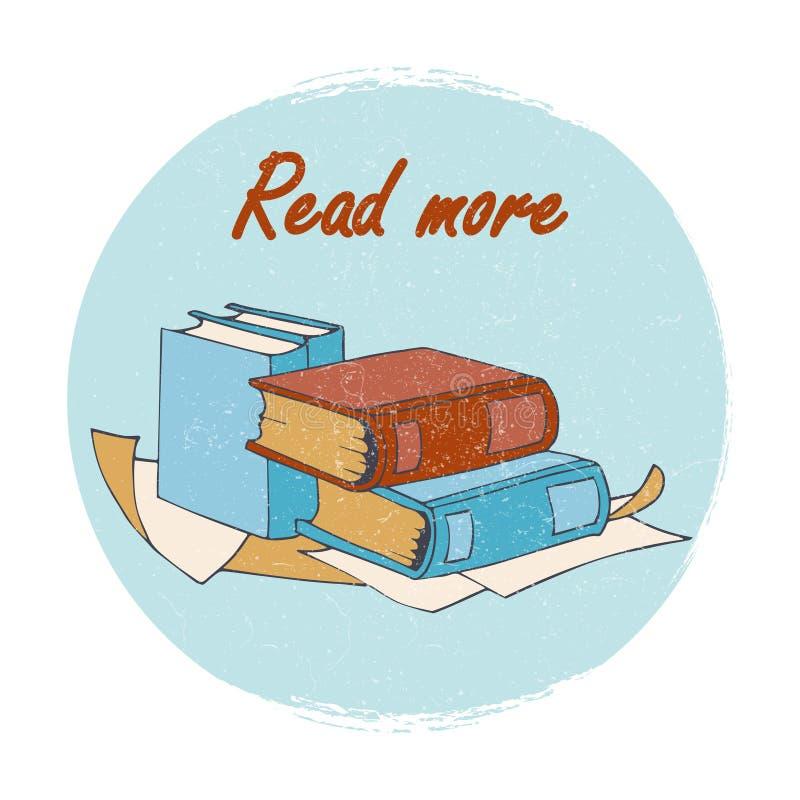 Κατάστημα βιβλίων ή έμβλημα βιβλιοθηκών - διαβάστε περισσότερο έμβλημα απεικόνιση αποθεμάτων