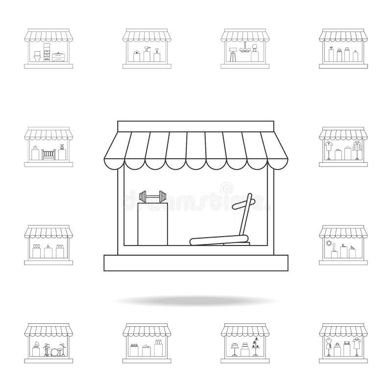 κατάστημα για την πώληση του εικονιδίου αθλητικών οργάνων Λεπτομερές σύνολο καταστημάτων και εικονιδίων υπεραγορών Γραφικό σχέδιο διανυσματική απεικόνιση