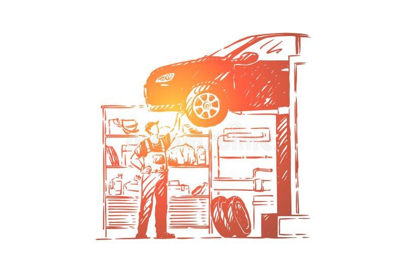 Κατάστημα επισκευής αυτοκινήτων, εργαστήριο οχημάτων, νέος μηχανικός στις φόρμες, απρόσωπος επισκευαστής, handyman αυτοκίνητο καθ απεικόνιση αποθεμάτων