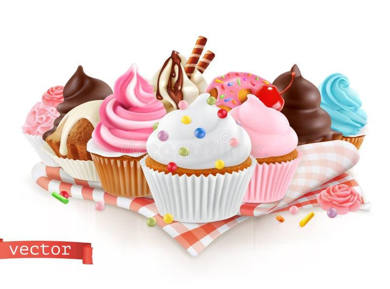 Κατάστημα ζύμης, βιομηχανία ζαχαρωδών προϊόντων γλυκό επιδορπίων Κέικ, cupcake τρισδιάστατο διάνυσμα ελεύθερη απεικόνιση δικαιώματος