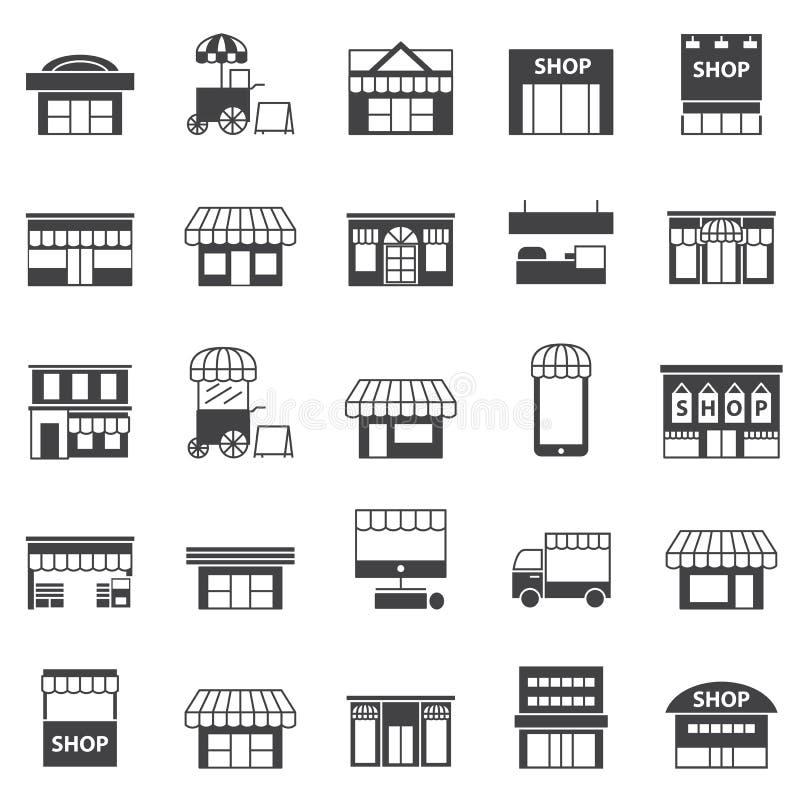 Κατάστημα και σύνολο εικονιδίων οικοδόμησης απεικόνιση αποθεμάτων