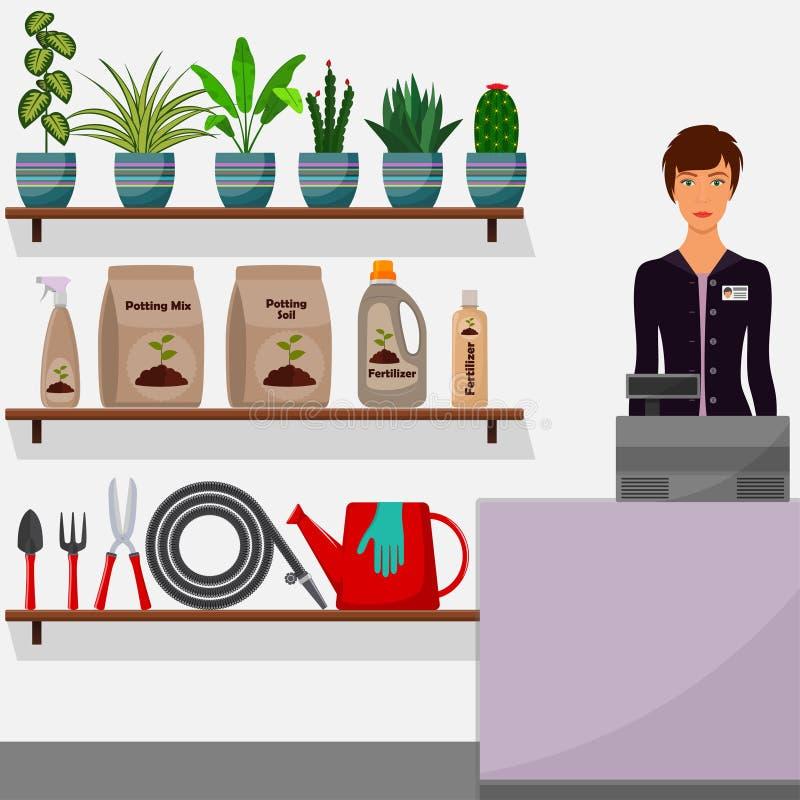 Κατάστημα κηπουρικής Εσωτερικό ανθοπωλείων Πωλητής γυναικών πίσω από το μετρητή Houseplants στα ράφια, εργαλεία για, potting χώμα διανυσματική απεικόνιση