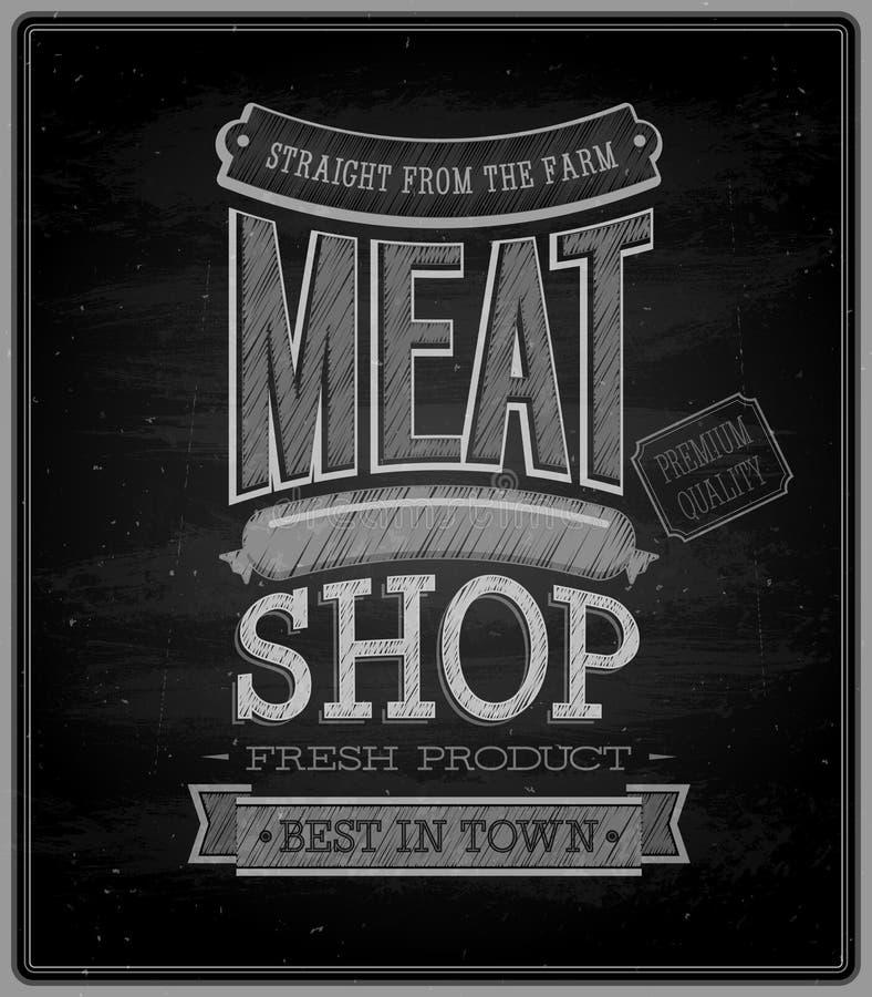 Κατάστημα κρέατος - πίνακας κιμωλίας. διανυσματική απεικόνιση