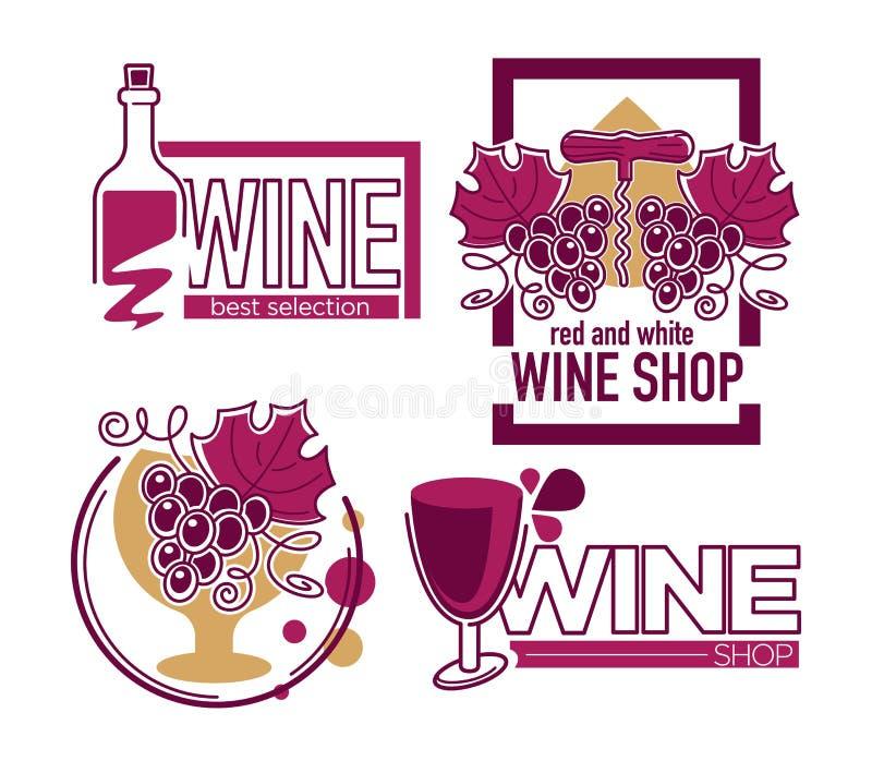 Κατάστημα κρασιού ή απομονωμένα κατάστημα δέσμη και μπουκάλι σταφυλιών εικονιδίων διανυσματική απεικόνιση