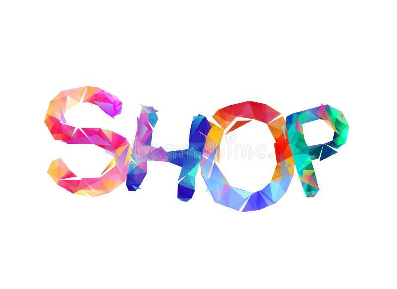 κατάστημα Λέξη των ζωηρόχρωμων τριγωνικών επιστολών απεικόνιση αποθεμάτων