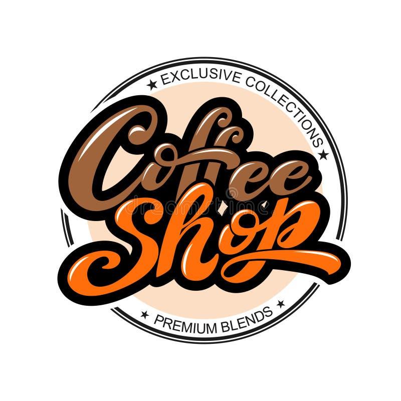 κατάστημα λογότυπων καφέ Διανυσματική απεικόνιση της χειρόγραφης εγγραφής στοιχεία για τη καφετερία, αγορά, σχέδιο καφέδων, επιλο διανυσματική απεικόνιση