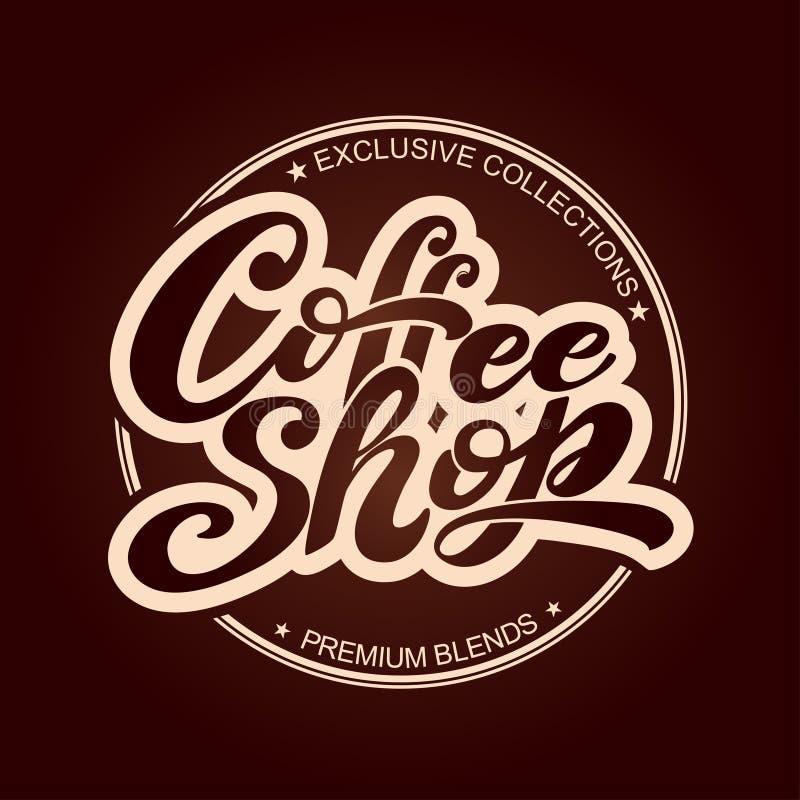 κατάστημα λογότυπων καφέ Διανυσματική απεικόνιση της χειρόγραφης εγγραφής στοιχεία για τη καφετερία, αγορά, σχέδιο καφέδων, επιλο απεικόνιση αποθεμάτων