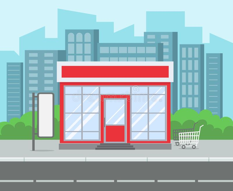 Κατάστημα οδών Αναδρομική παντοπωλείων αποθηκών οδός πόλεων υπεραγορών εξωτερική Λιανικό κτήριο αγορών στο διάνυσμα οδικών κινούμ διανυσματική απεικόνιση