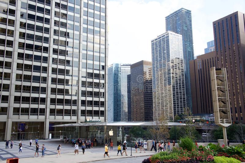 Κατάστημα της Apple Computer, στο κέντρο της πόλης Σικάγο Ιλλινόις στοκ φωτογραφίες