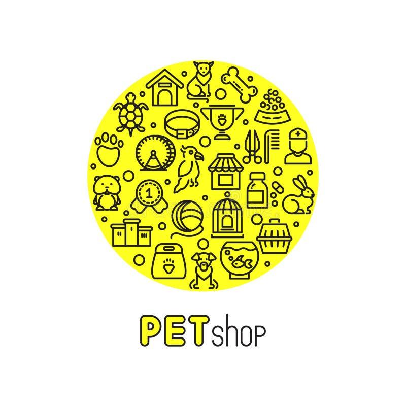 Κατάστημα της Pet και διανυσματικό λογότυπο κλινικών κτηνιάτρων με τα εικονίδια γραμμών των γατών, σκυλιά, αγαθά για τα ζώα ελεύθερη απεικόνιση δικαιώματος
