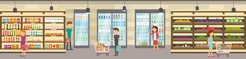 Κατάστημα υπεραγορών με τα αγαθά Μεγάλο εμπορικό κέντρο διανυσματική απεικόνιση